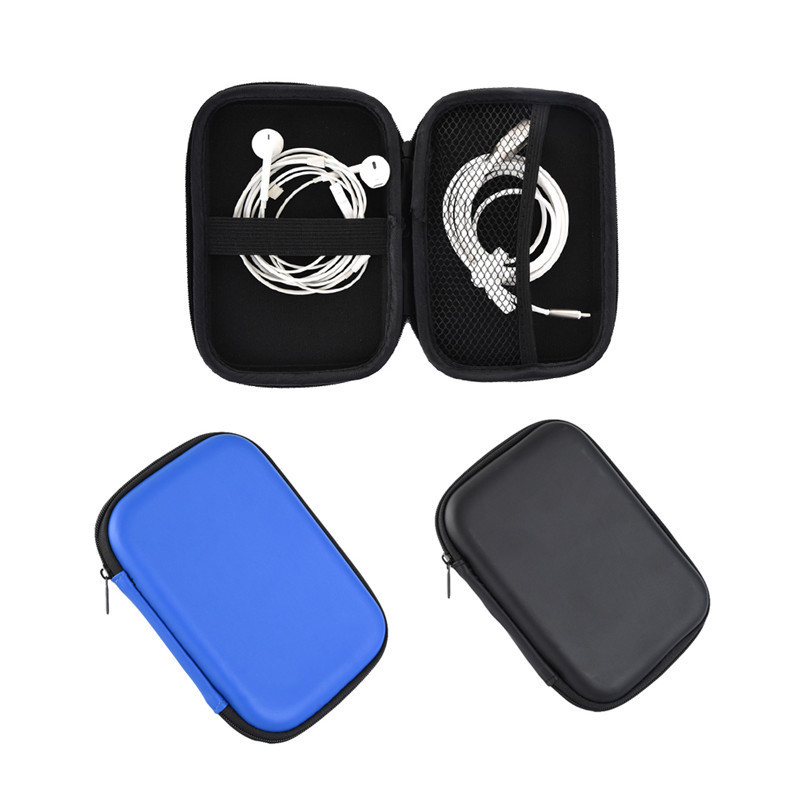 Portable PU Storage Carrying Hard Bag Box for USB Data Line Earphone Headphone Earbuds 2.5 Hard Disk Organizer Box