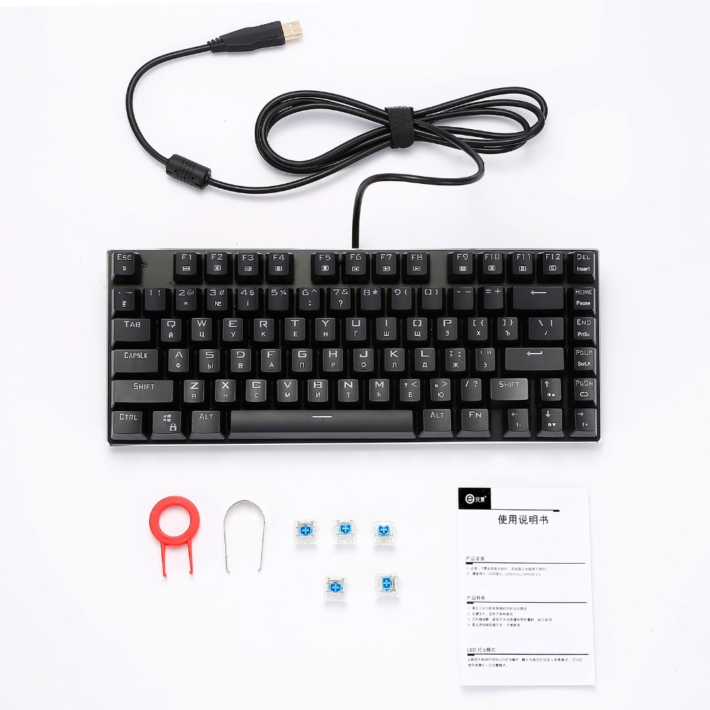 Z88 Small Mechanical Keyboard Russian Lettters RGB Backlit Blue Clicky Switch Compact Gaming Keyboard for Student