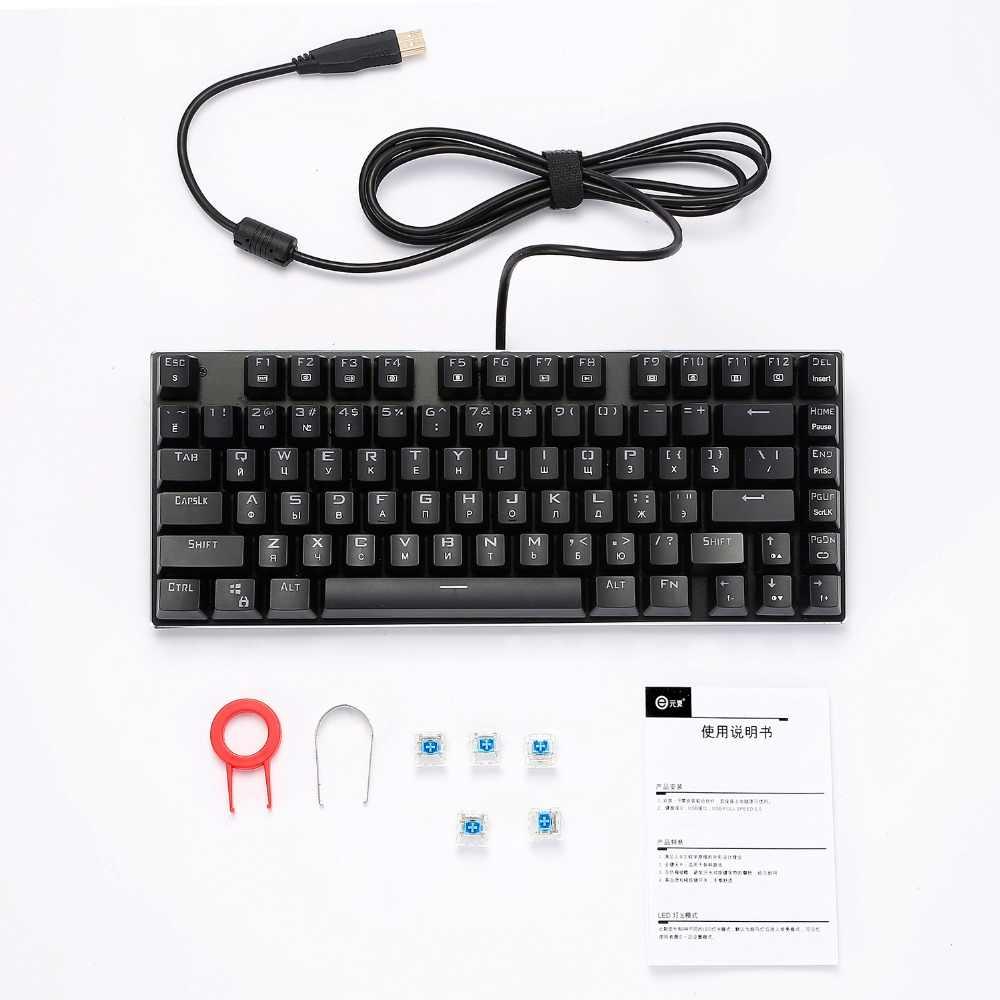Z88 российского малого клавиатура с подсветкой RGB подсветкой Outemu синий Clicky переключатель компактная клавиатура для студентов геймер машинистка