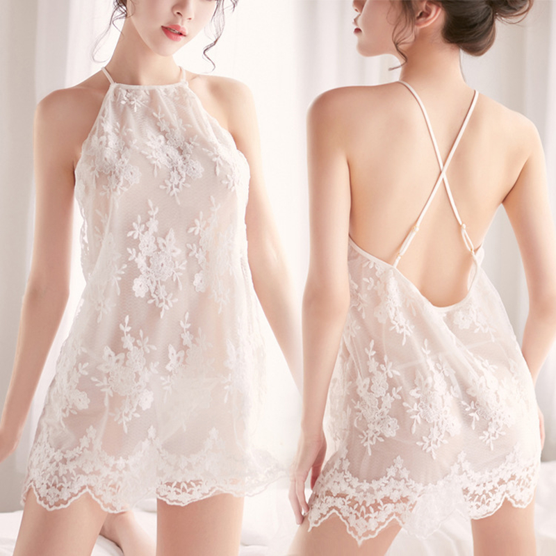 Exotic <font><b>Dresses</b></font> <font><b>Sexy</b></font> Lingerie Women Lace Strap Cross Costume Sleepwear <font><b>Dress</b></font> <font><b>Transparent</b></font> Hollow-out Chemise Underwear Nightdress image