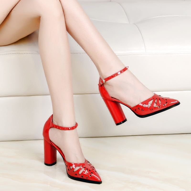 Red Chunky Heel Pumps Promotion-Shop for Promotional Red Chunky