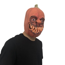 1PC Horror Glowing Latex Pumpkin Head Mask Unique Halloween Dress Up Props Festive Party Supplies