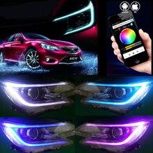 RGB DRL di giorno runing per Toyota Reiz Fari New Mark X HA CONDOTTO il Faro Bi-Xenon Testa Della Lampada LED DRL bluetooth app car styling