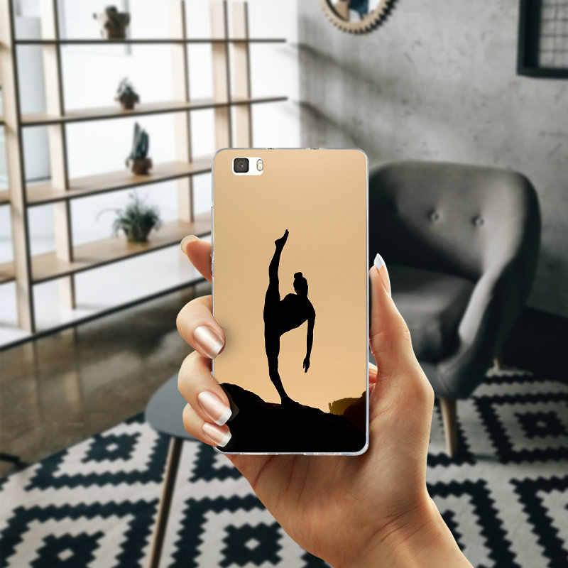 Фитнес бальных танцев Спортивные Мягкие TPU телефон чехол для Huawei P8 P9 P10 P20 Lite Smart Коврики 10 Pro Y3 Y5 Y6 II Y7 Honor 6X сумки