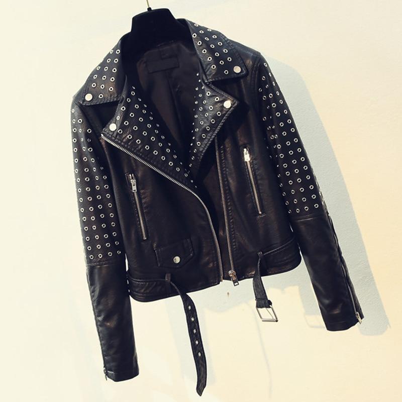2018 Korean Fashion Heavy Metal Black Belt Design Woem Faux   Leather   Jackets Hip Hop Streetwear Women PU Jackets Overcoats C1701