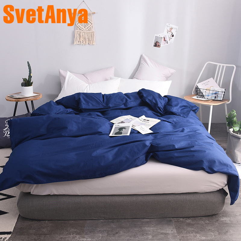 Svetanya 100 Cotton Duvet Cover Solid Color Blanket Case With Zipper (no Quilt) Single Full Queen King Double Size
