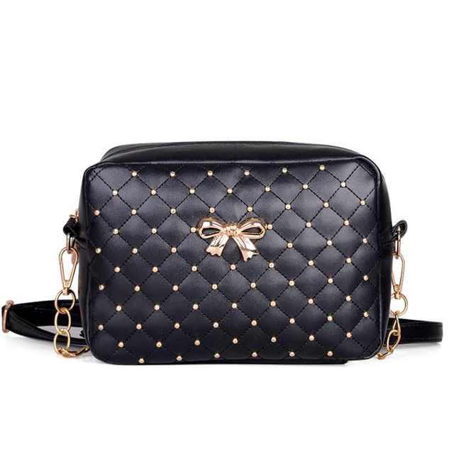 2017 Women Bag Fashion Women Messenger Bags Rivet Chain Shoulder Bag High Quality PU Leather Crossbody Quiled Crown bags