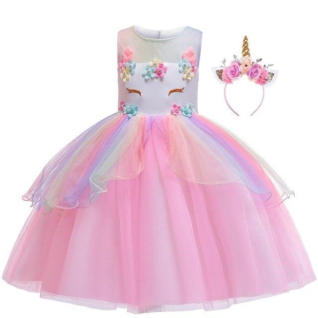 女の子ユニコーン衣装ガール虹花チュチュドレスとユニコーンヘッドバンドホーン花のヘアフープセット子供のための誕生日のテーマ
