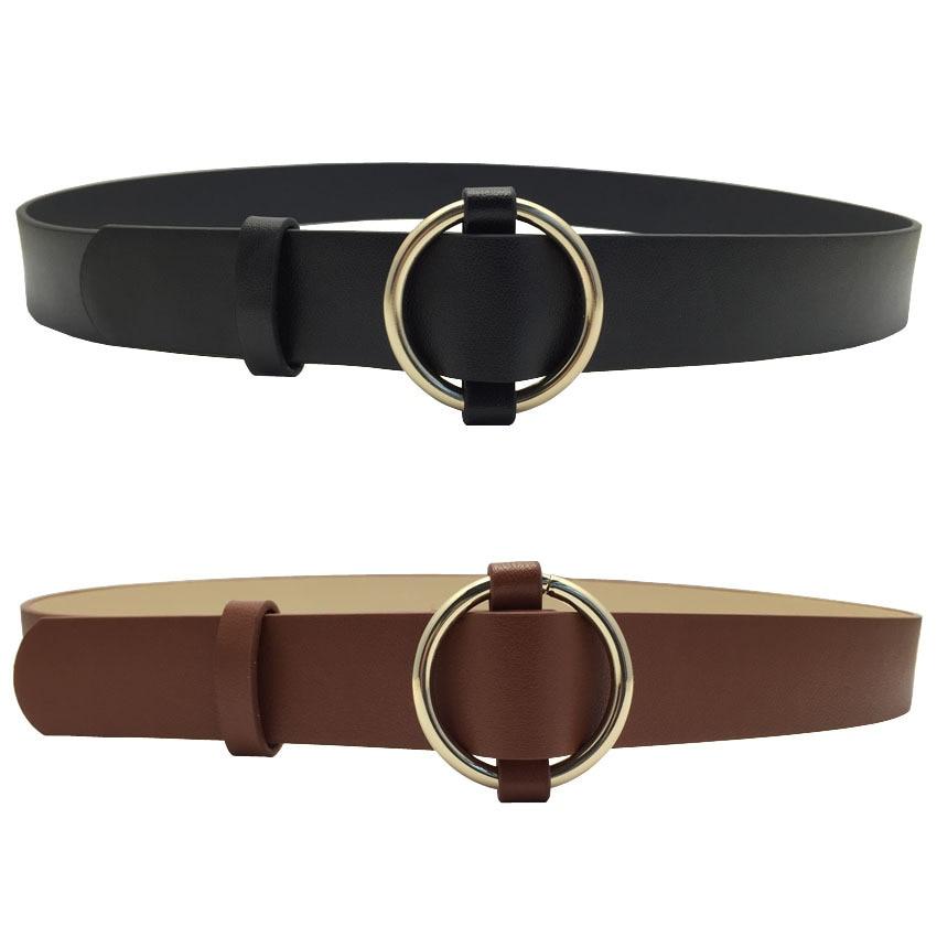 VOHIO Fashion luxury woman belts Simple black leather belt ...