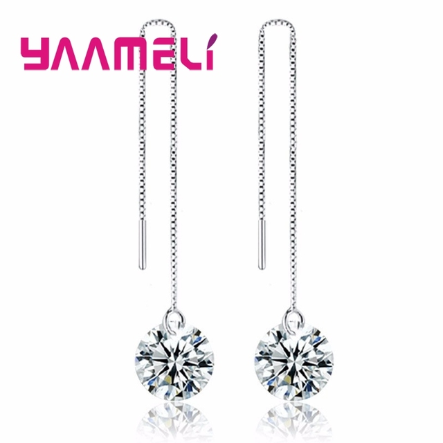 f1668ef78 YAAMELI Classic Shining Cubic Zircon Stones CZ Crytal Earrings for OL  Female 925 Sterling Silver Long Thread Tassel Jewelry