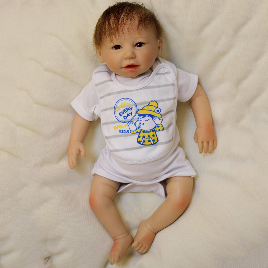 ФОТО 50cm Realistic Boneca Reborn Baby Dolls Newborn Boy Bebe Doll  With Magnetic Pacifier Toys for Children Juguetes