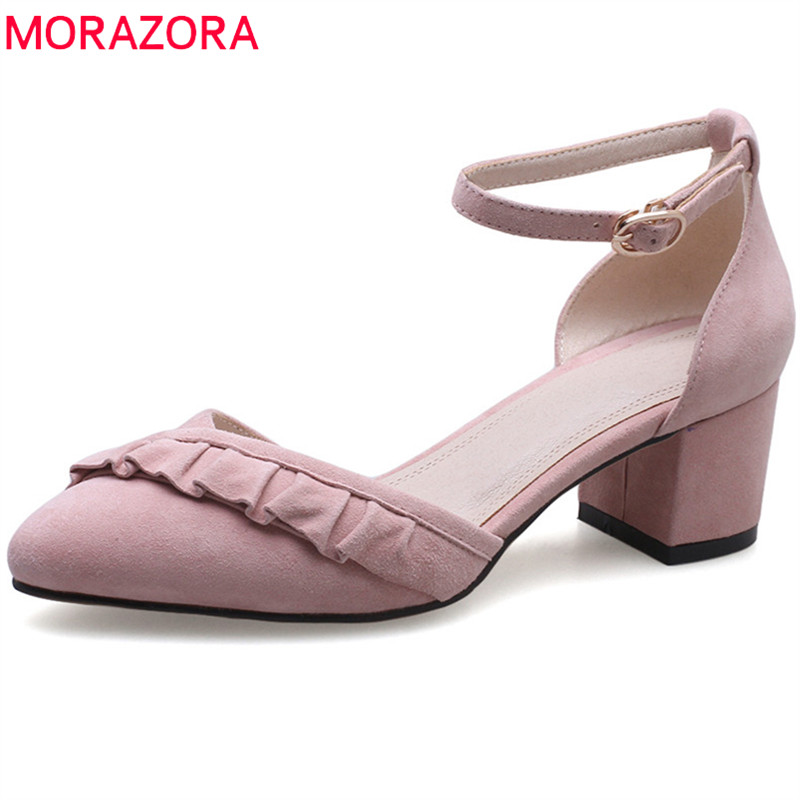 MORAZORA 2018 new arrival women pumps suede leather sweet pink summer shoes big size 33-40 pointed toe high heel shoes woman 2016 new women shoes summer sweet style leatherette pointed toe bowknot beading chunky kitten heel big size weeding pumps 0216