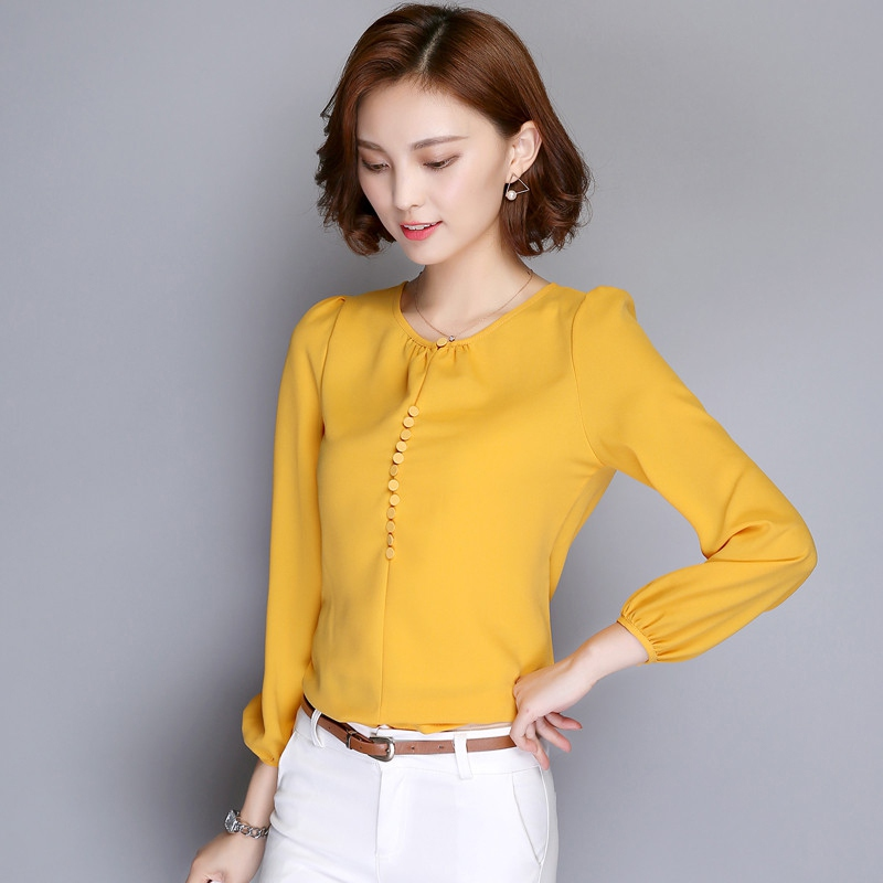Elegant Women Solid Chiffon Blouse Shirts Women Blouses Short Sleeve Office Shirt Pink White Yellow Red Tops