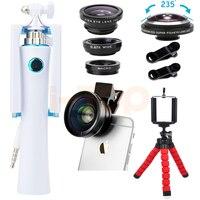 Ống Kính Fisheye 235 độ 2in1 HD 0.45X Siêu Wide Angle Lentes Macro ống kính Mini Tripod Ảnh Tự Sướng Thanh Cho iPhone se 6 6 s 7 8 cộng với