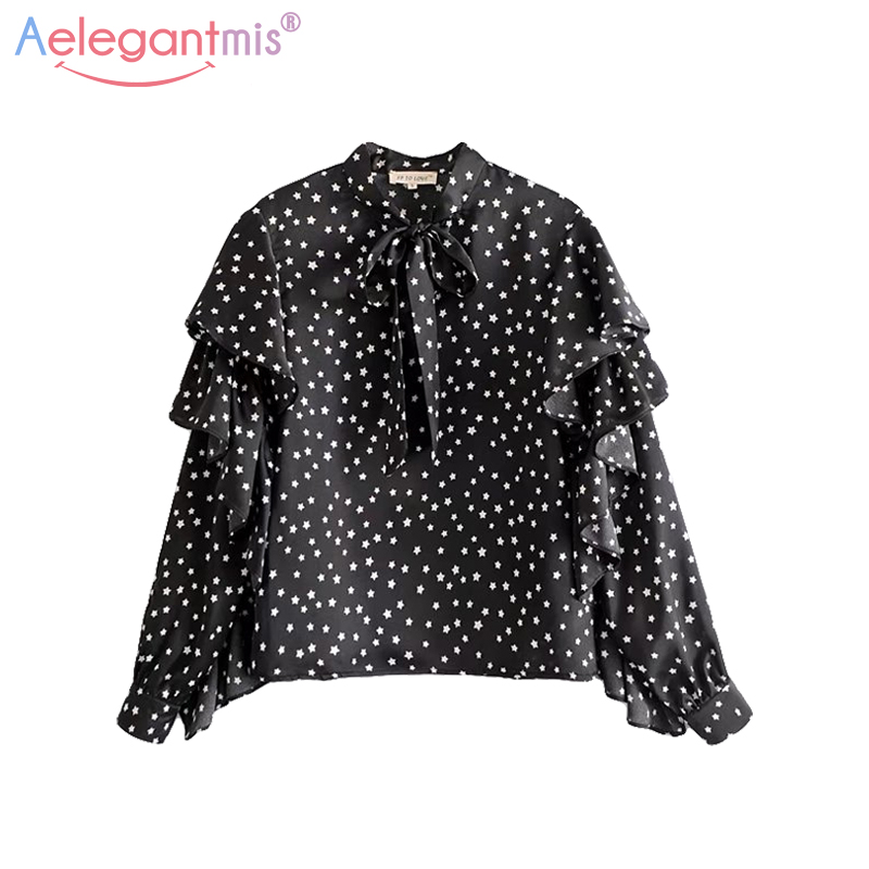 Aelegantmis Fashion Star Print Chiffon Blouse Women Casual