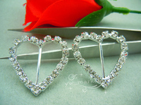 50 Pcs Heart Rhinestone Buckle Invitation Ribbon Slider For Wedding Supply