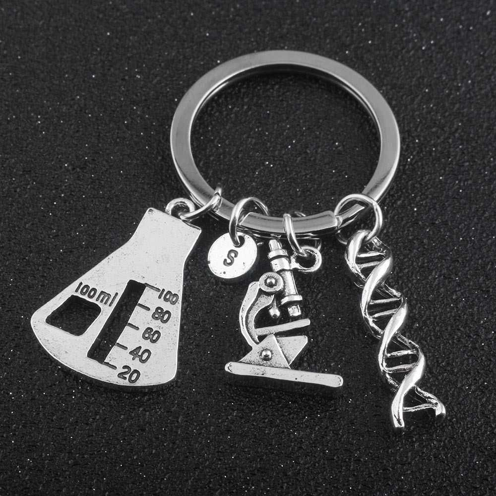 Chemistry Lab Equipment Jewelry Twist DNA Structure Microscope Triangle Cup Pendant Keychain Funny Key Chain Gift For Friends