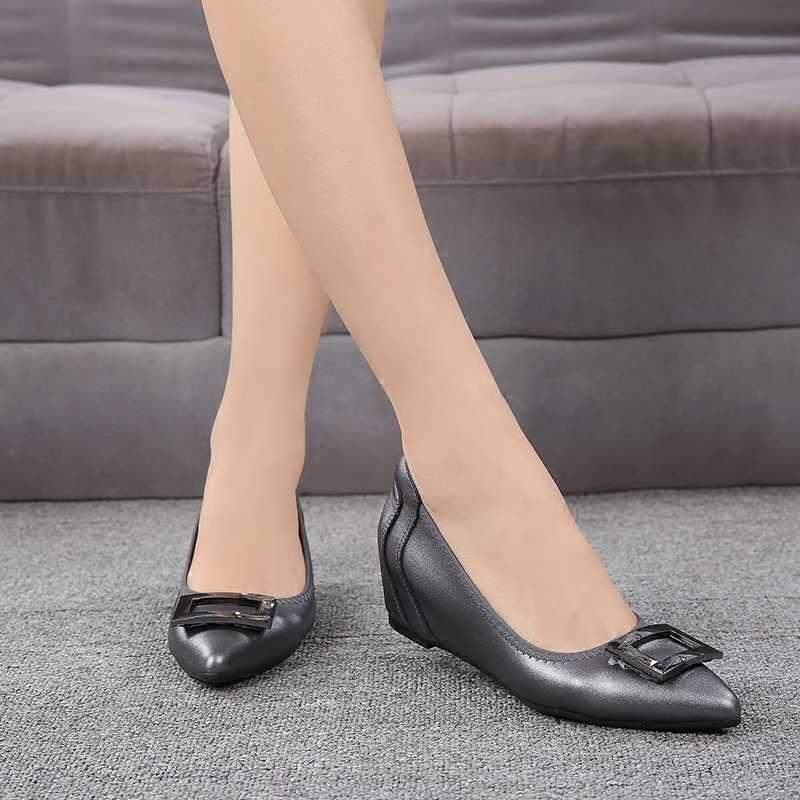 Серые/черные женские туфли-лодочки из мягкой кожи 4 см офисные женские туфли-лодочки на танкетке на среднем каблуке элегантная Розовая/персиковая обувь с пряжкой, распродажа