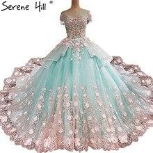 最新のレース花半袖ウェディングドレスロマンチックな花王女ブライダルドレスセクシー 2020 Vestido デ Noiva