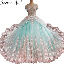 Newest Lace Flower Short Sleeve Wedding Dresses  Romantic Flowers Princess Bridal Dress 2020 Vestido De Noiva