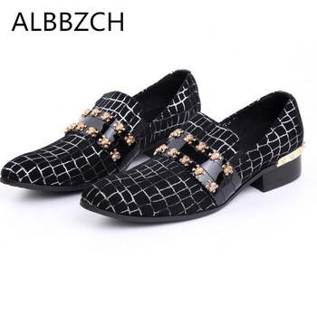 New mens fashion metal skull buckle genuine leather wedding shoes men loafers pointed toe slip on party dress shoes big size 46
