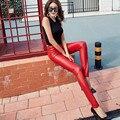2016 Сгущает Зимний PU Кожаные женские брюки высокая талия упругие руно стретч Тонкий женщины карандаш брюки узкие брюки CK12