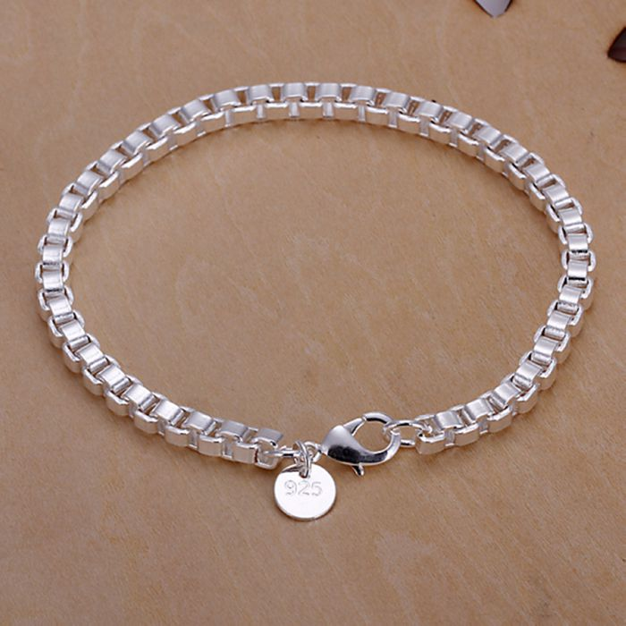 Christmas Gift 2016 New 925 Jewelry Silver Plated Fashion Jewelry Checkered Box Bracelets&bangle,Wholesale Jewelry SMTH172