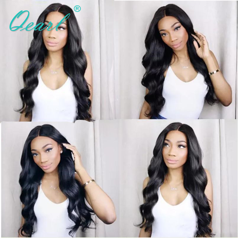 Pre Plucked Brazilian Human Hair Lace Front Wigs For Black Women Natural Hairline Middle Parting Body Wave Lace Front Wigs