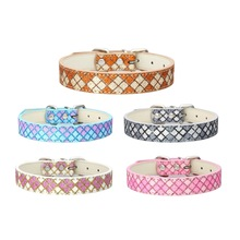 1 piece PU leather dog collar plaid glitter traction rope girl puppy collars round adjustable neck strap pet accessories