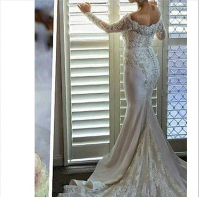 Custom Made Sexy Long Sleeve Wedding Dresses Mermaid Beading Tulle Lace Vintage Formal Vestidos De Novia Wedding Gown WD15M