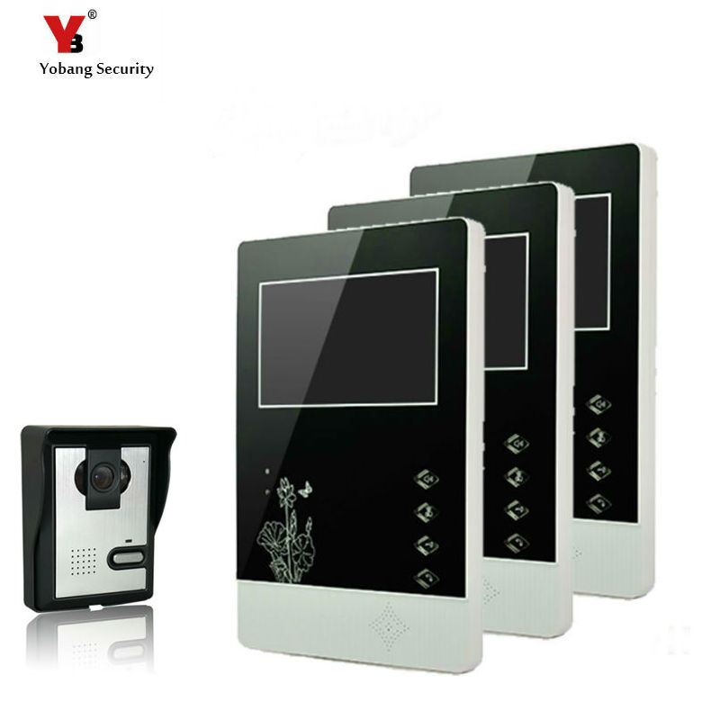 Yobang Security 4.3 TFT LCD Wired Video Door Phone Visual Video Intercom Speakerphone Intercom System With Waterproof Outdoor