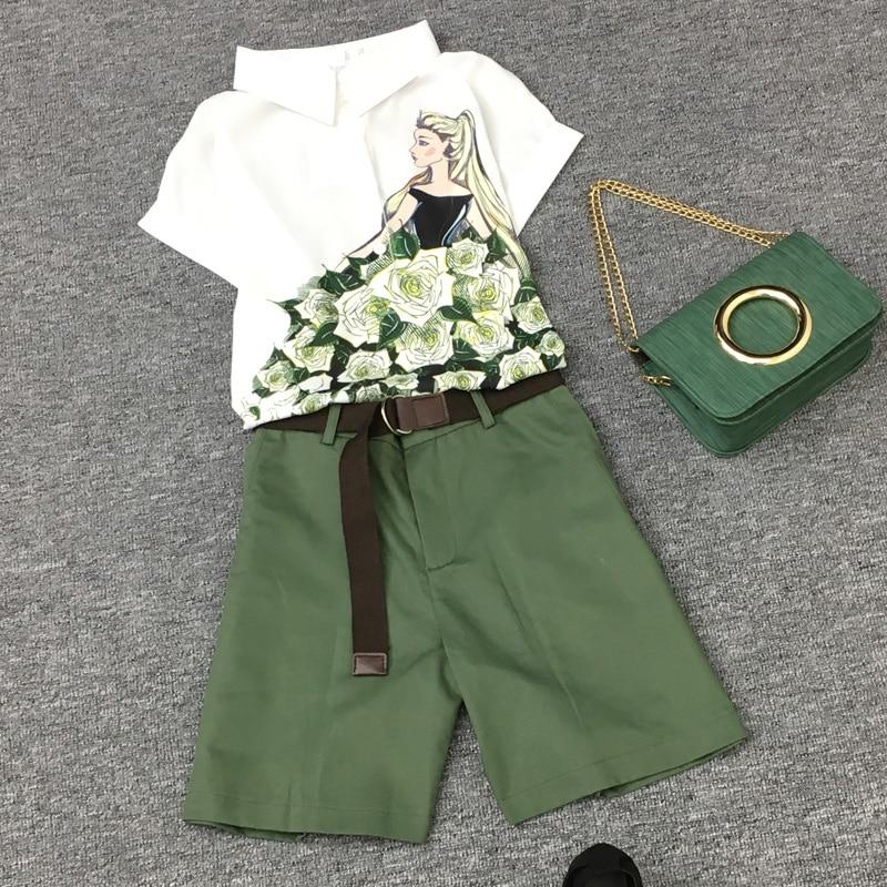2020 New Summer Women Shortsleeved Temperament Slim Setsladies Ms Chiffon Printed Shirt + Fashion Shorts With Belt Elegant 2sets
