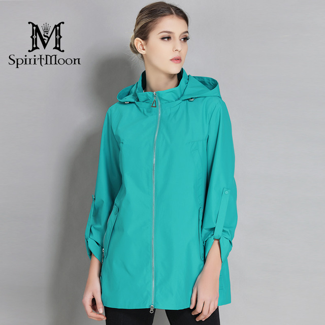 5805ed52b859c SpiritMoon 2018 New Arrival Spring Autumn Windbreaker Cloak For Women Women  Trench Coat Jacket Medium Length Plus Size 5XL 6XL