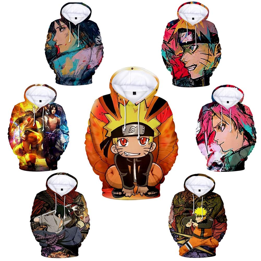 Naruto Hoodie Coat Puiiover Sweatshirts Kakashi Sasuke 3D Hoodies Pullovers Long Sleeve Outerwear Hoodie Christmas Gift