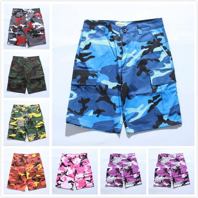 e29d45e289 2019 Men Women Cargo Shorts Camouflage Shorts Pockets 7 Colors Casual Streetwear  Camo Orange Blue Gray Purple Army Yellow XXXL