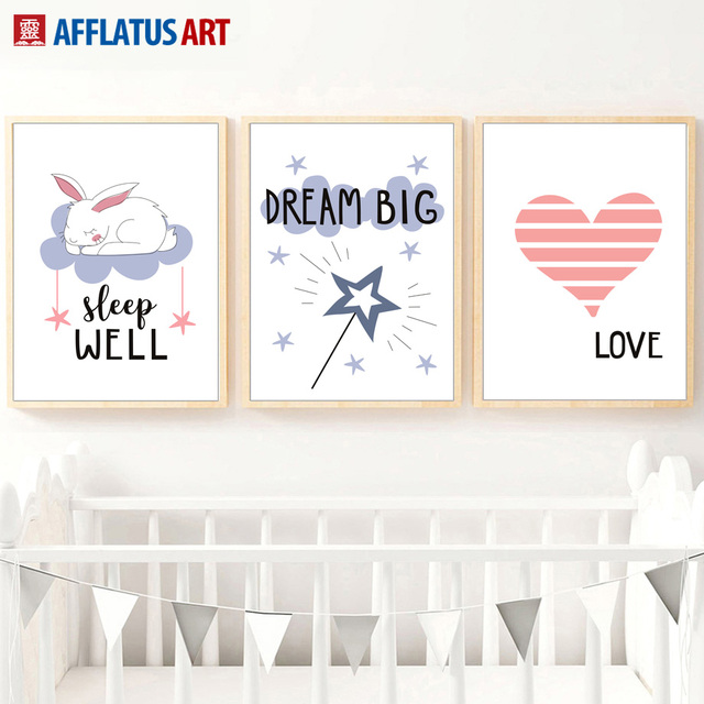 Afflatus Rabbit Love Dream Nordic Poster Canvas Painting Nursery Wall Art Prints Pictures Kids