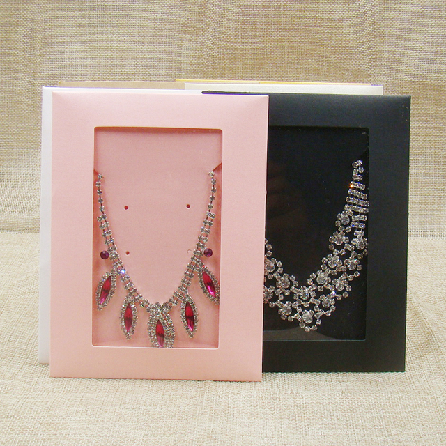 50PCS new pink jewelry package box various color window envelop box for jewelry necklace package /invitation card /CD storage