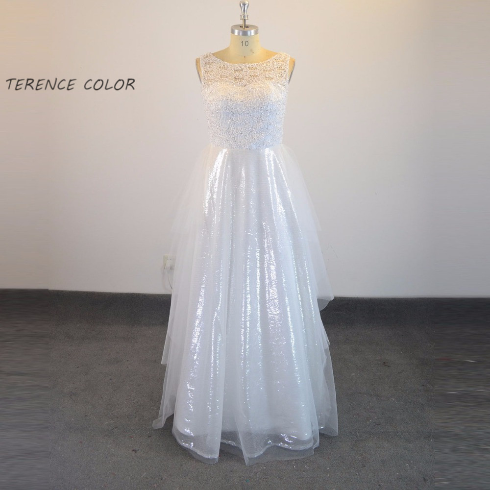 Fashion Long Prom Gown Sequins Tulle Lace Pearls Beading Party Dress Custom Made