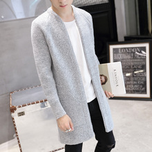 Men's Spring Thin Autumn Wool Knitted Long Cardigan Fashion Solid Color Jersey Hombre Warm Overcoat Korean Slim Male Clothing