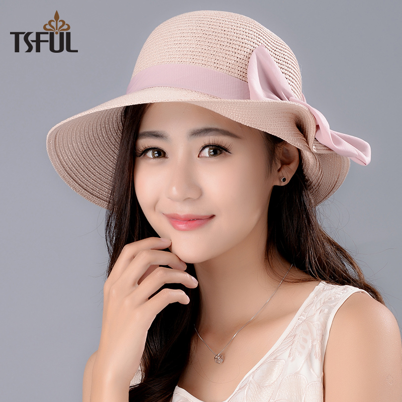 Lady New Sun Hat Girl Summer Straw Sun Cap Wide Brim Girls Outside Sun Beach Cap Students Leisure Tavel Hat Foldable B-8026