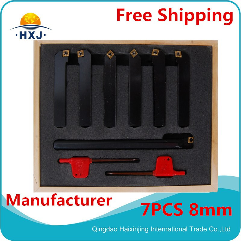turning tool 8mm turning tool 7pc/set 8mm indexable lathe cutting tool set with inserts for CNC machine