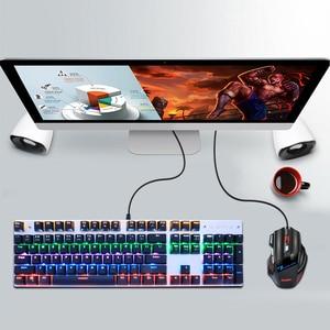 Image 5 - Przewodowy mechaniczna klawiatura gamingowa niebieski czerwony przełącznik 87/104 klawisze Anti efekt zjawy rosyjska/US podświetlany diodami LED LED dla graczy Laptop