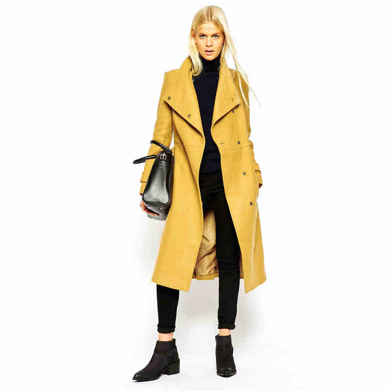 Aliexpress.com : Buy Autumn Winter Coat Women X Long Yellow Wool ...