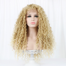Free Beauty 24'' Long Curly Front Swiss Lace Synthetic Wig Natural Part Bohemian Highlight Blonde Hair Wigs for White Women