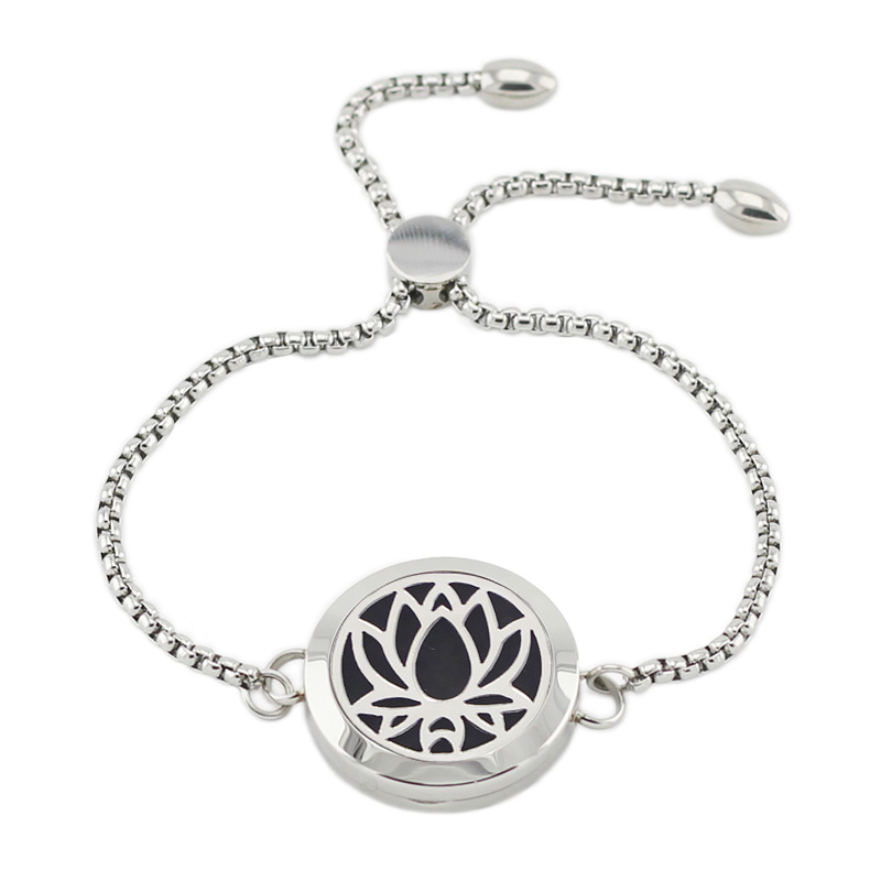 Stainless Steel Aromatherapy Bracelet Adjustable 25mm Magnetic Lotus Essential Oil Diffusing Bracelet For Women (with 5pads)