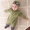 Piloto de vestuario bebé niños pequeños de la fuerza aérea capitán verde mameluco largo de la manga con sombrero ifant niño ropa roupas infantil