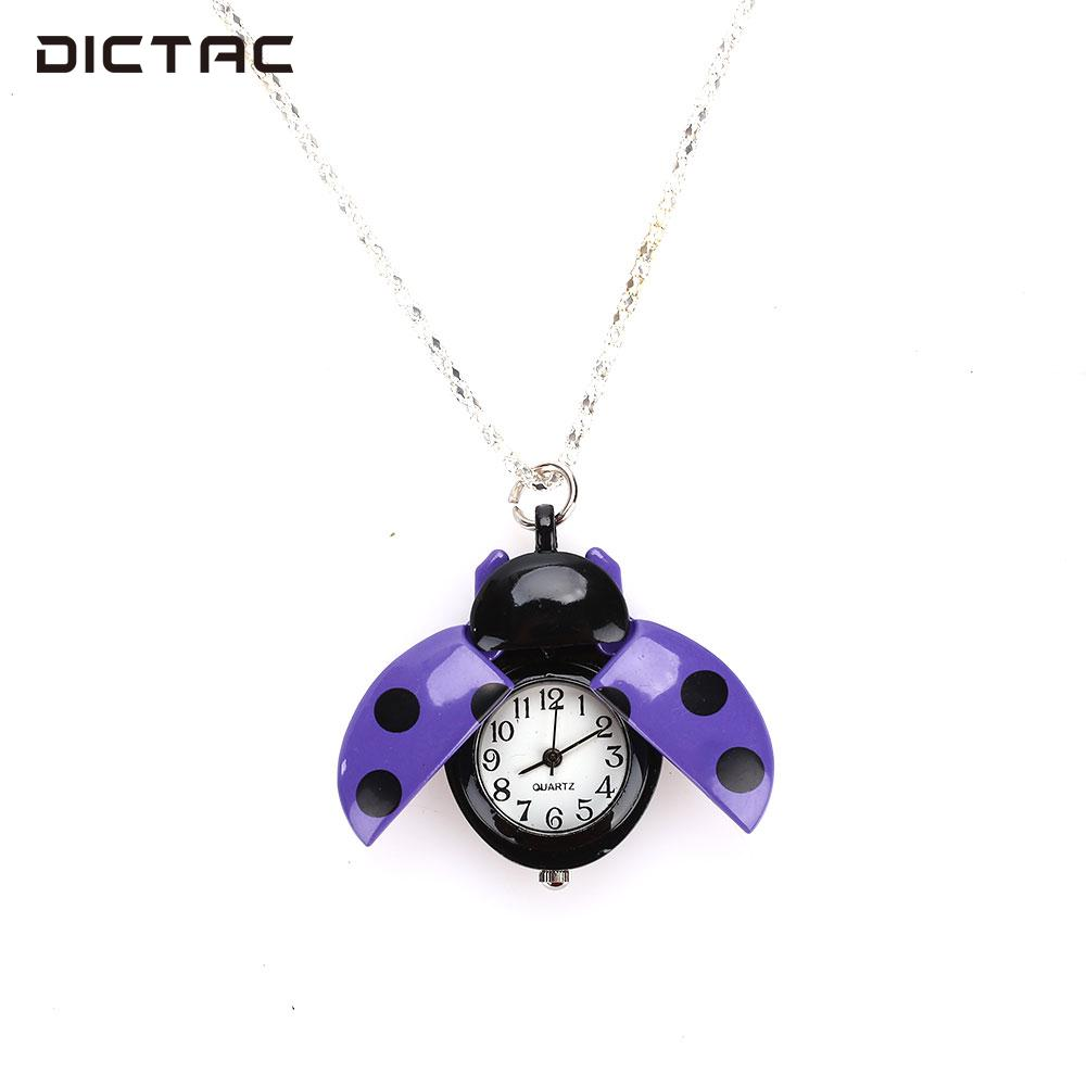 Beetle Ladybug Fob Watch Beetle Watch Fashion Jewelry Pocket Watch Necklace Chain Gifts retro skull death hold sickle pocket watch fashion mens womens fob chain bronze devil quartz fashion halloween funny watch gifts