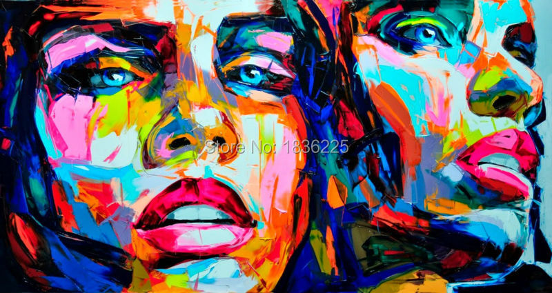 Nielly Francoise art work hand-painted oil wall moonlight face home decoration modern abstract knife oil painting on canvas