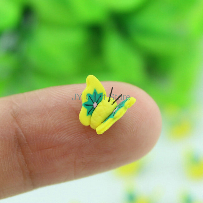 set of 30pcs mini yellow fimo Butterfly flatback Cabochon cabs 8mm 3D Nail Art Bead Stickers Decorations-RT0006