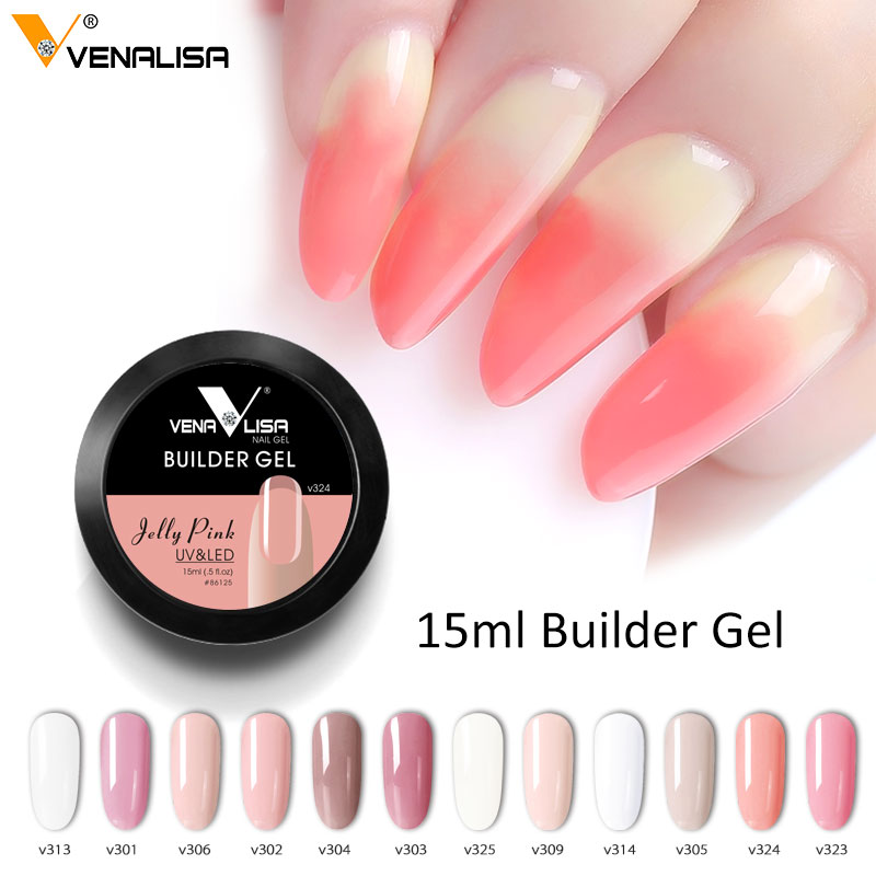 CANNI Builder Gel 15ml Consejos en francés Venalisa Acrylic Gel Nude Pink de alta calidad de camuflaje Jelly Color Nail Extending UV LED Gel